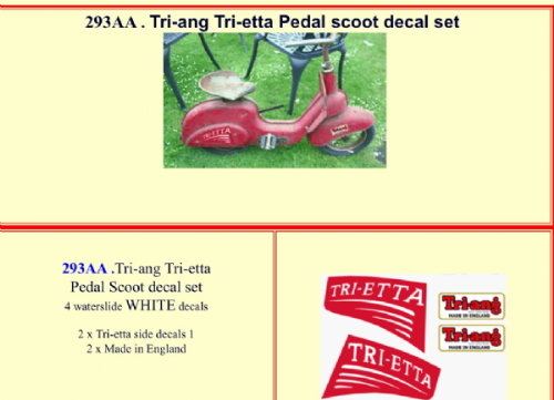 293AA  Tri-ang Tri-etta Pedal scooter decal set